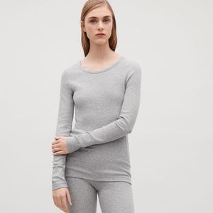 NWOT. COS Grey Ribbed Long Sleeve